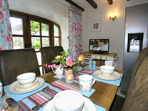 dining area in bwthyn luxury holiday cottage nr betws-y-coed, snowdonia