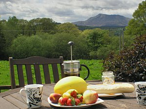 view of moel siabod, snowdonia from the holiday cottage patio